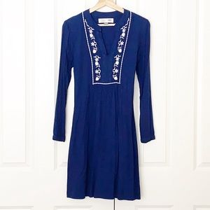 Blue Embroidered Maternity Dress